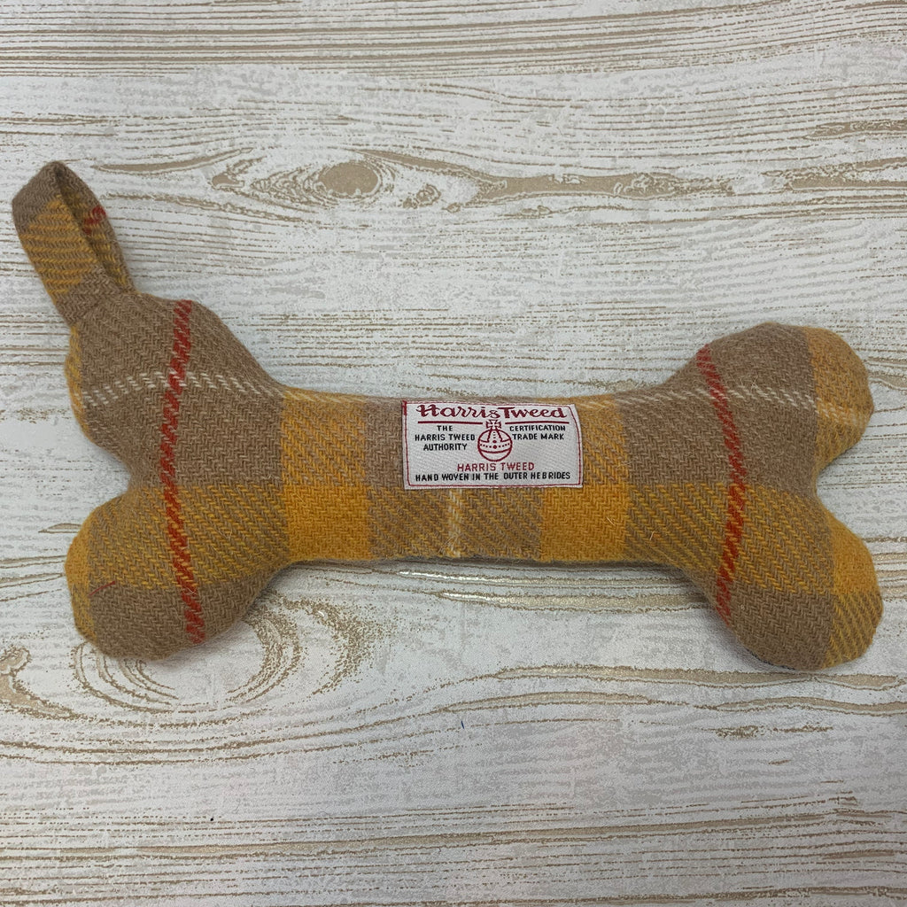 (Urquhart) Bowzos Harris Tweed Squeaky Bone Toy - Mustard - BOWZOS