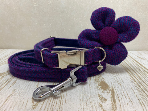 (Seilebost) Harris Tweed Flower Dog Collar & Lead Set - Purple Herringbone - BOWZOS