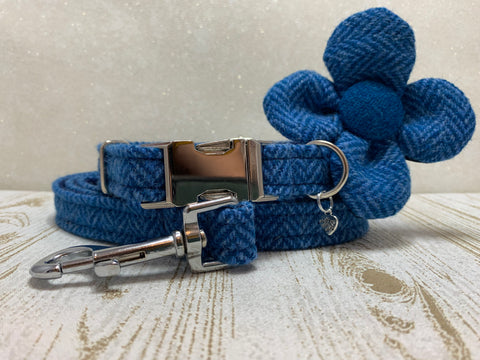 (Scarista) Harris Tweed Flower Dog Collar & Lead Set - Blue Herringbone - BOWZOS