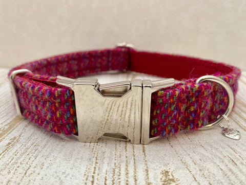 (Kellie) Harris Tweed Dog Collar - Pink Kaona - BOWZOS