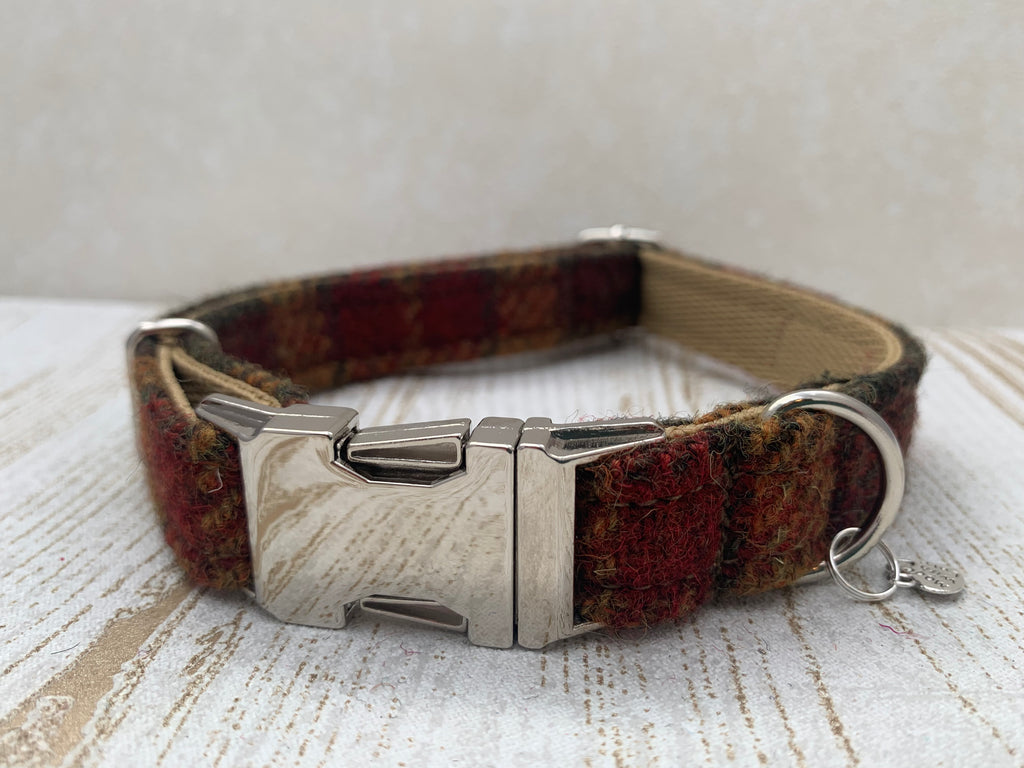 (Stornaway) Harris Tweed Dog Collar  - Chestnut & Mustard - BOWZOS