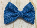 (Scarista) Harris Tweed Bow Tie Dog Collar - Blue Herringbone - BOWZOS