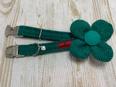 (Horgabost) Harris Tweed Flower Dog Collar - Green Herringbone - BOWZOS