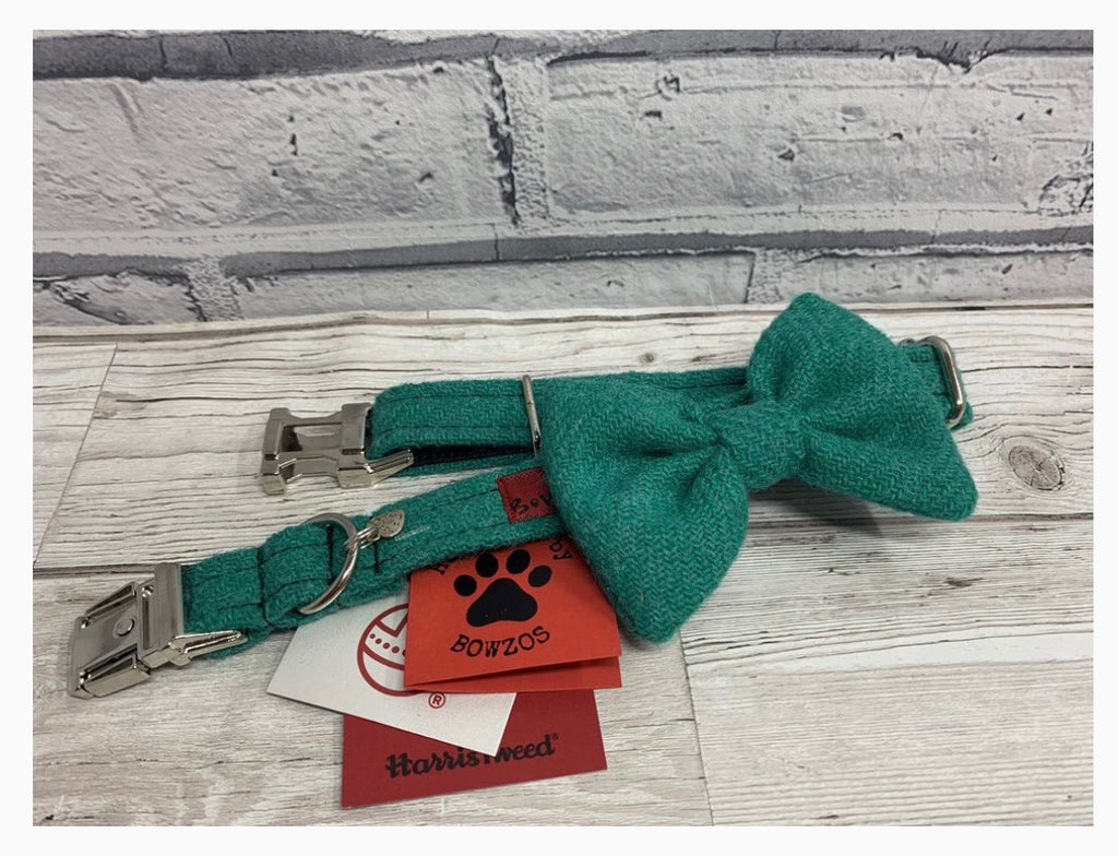 (Dalmahoy) Harris Tweed Bow Tie Dog Collar & Lead Set - Jade - BOWZOS