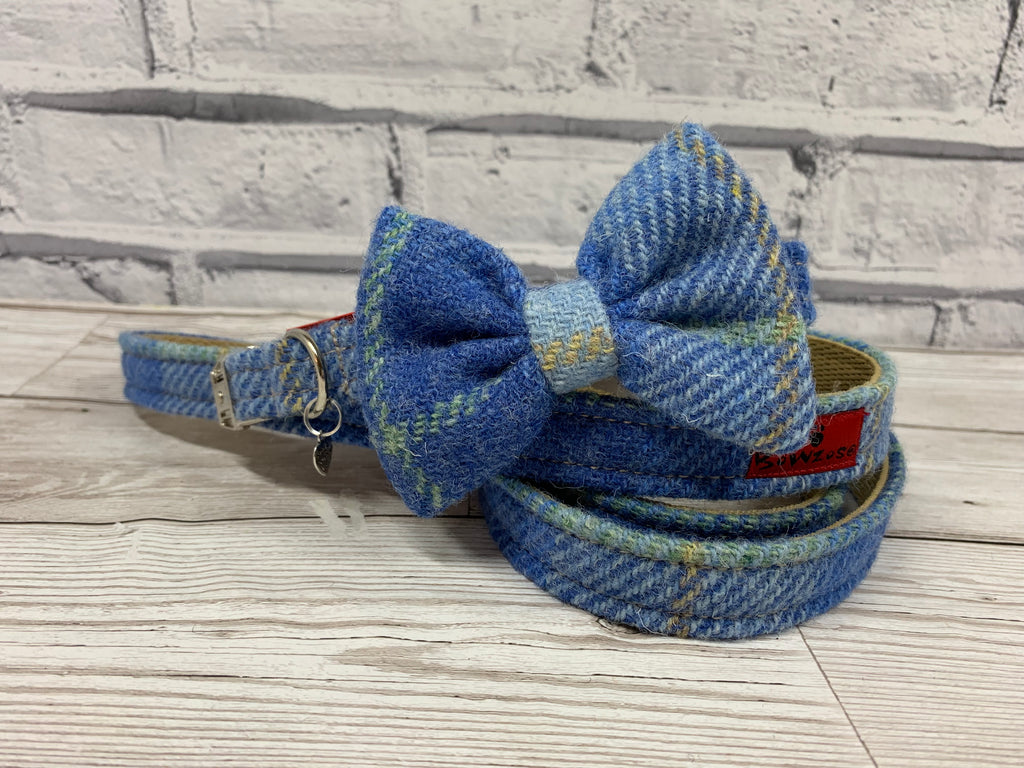 (Edinburgh) Harris Tweed Bow Tie Dog Collar & Lead Set - Baby Blue Check - BOWZOS