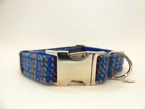 (Gordon) Harris Tweed Dog Collar - Blue Kaona - BOWZOS