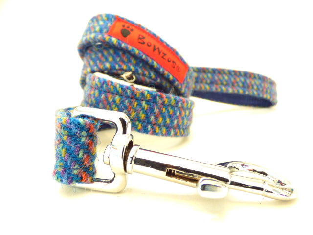 (Gordon) Harris Tweed Dog Lead - Blue Kaona - BOWZOS