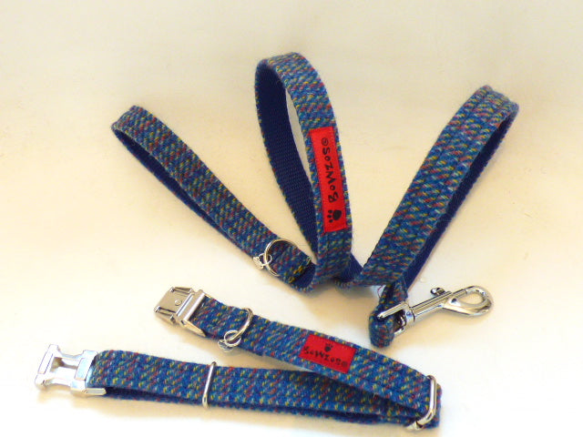 (Gordon) Harris Tweed Dog Collar & Lead Set - Kaona Blue - BOWZOS
