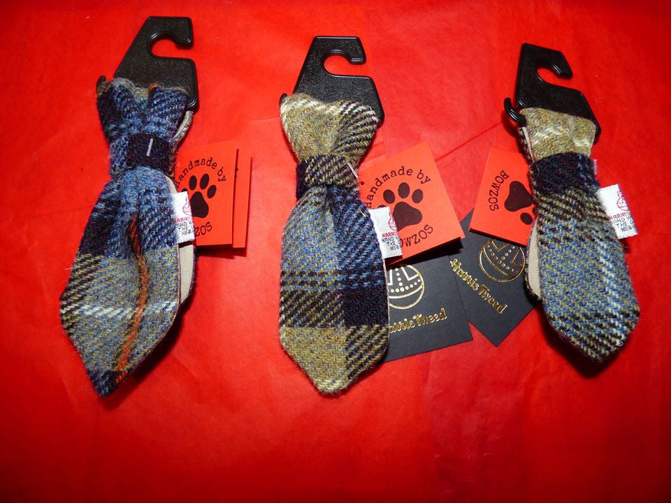 Bowzos Harris Tweed Dog Tie - MacKenzie Tartan - BOWZOS