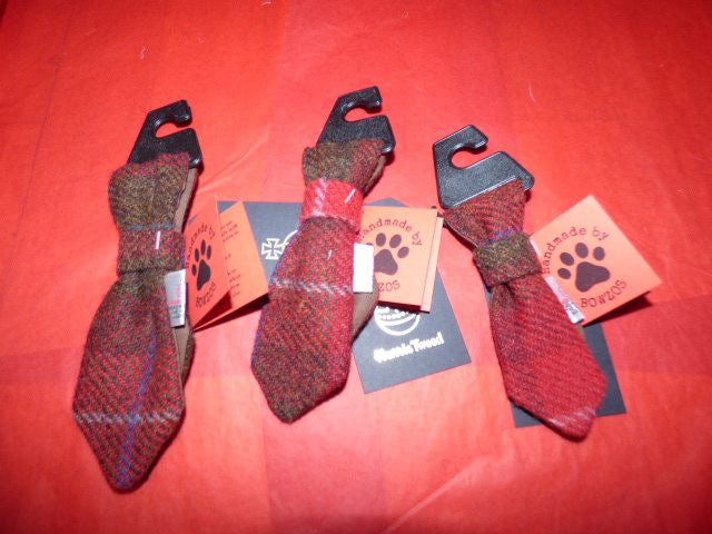 (Blair) Bowzos Harris Tweed Dog Tie - Dark Red Check - BOWZOS