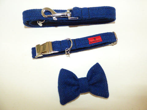 (Balmoral) Harris Tweed Bow Tie  Dog Collar & Lead Set - Blue (with Silver Findings) - BOWZOS