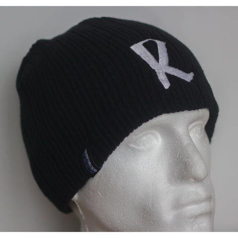 Reinforced Ribbed Black Beanie Hat (Big R logo) -  Embroidered hat
