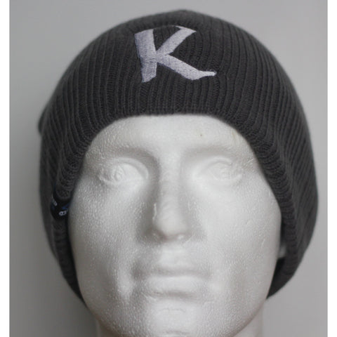 Reinforced Ribbed Grey Beanie Hat (Big R logo) -  Embroidered hat