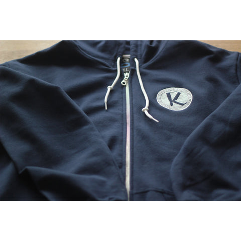Reinforced Navy Zip Through Hoodie