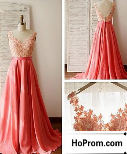 A-Line Applique Chiffon Prom Dress Evening Dresses