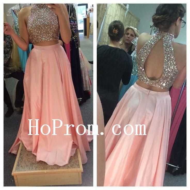 Two Piece Pink Prom Dresses,Beading Prom Dress,Evening Dress