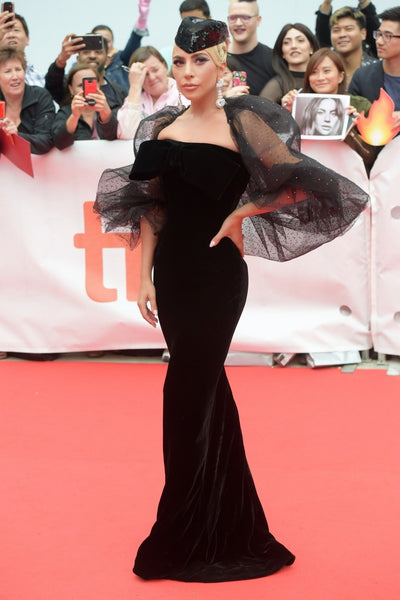 Black Lady Gaga Velvet Prom Red Carpet Dress Toronto International Film Festival