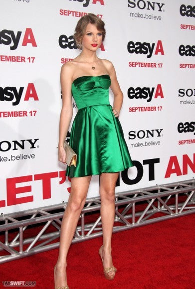 Green Taylor Swift Strapless Easy Short Dress Prom Celebrity Outfit