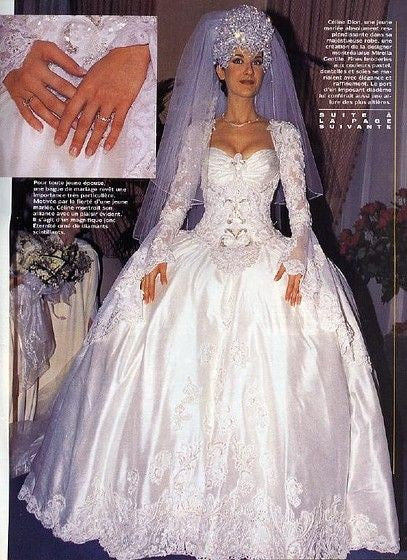 White Celine Dion Long Sleeve Lace Wedding Dress Best Celebrity Princess Bridal Gown For Sale