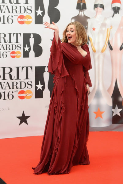 Red Adele Long Sleeve Long Sleeves Dress Ruffled Prom Celebrity Formal Dress Brit Awards Plus Size For Sale