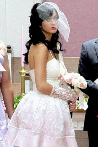 Pink Katy Perry High Low Spaghetti Straps Wedding Bridal Gown Layered Celebrity Dress For Sale