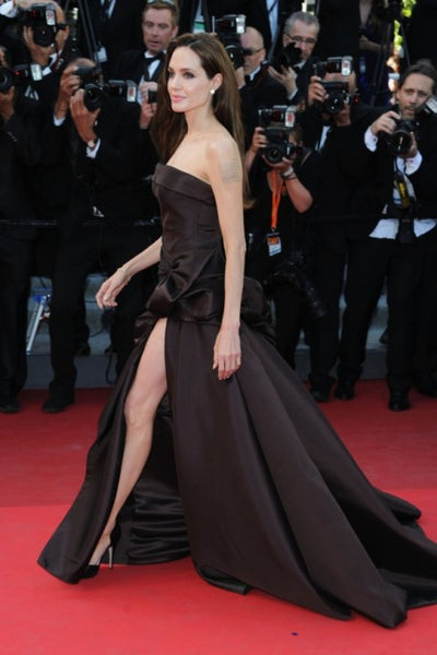 Chocolate Angelina Jolie High Split Dress Prom Celebrity Evening Formal Red Carpet Dress Cannes