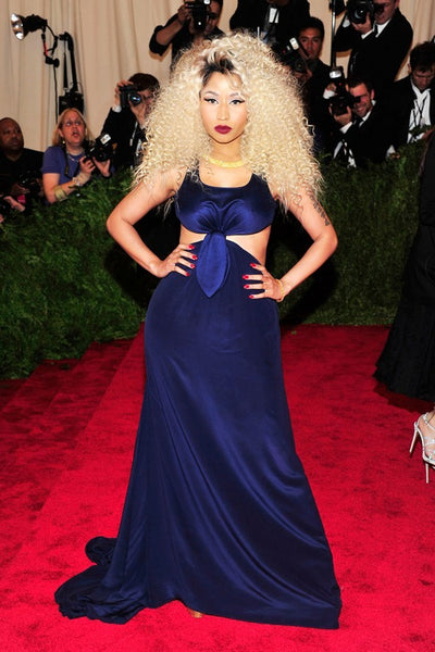 Royal Blue Nicki Minaj Cutout Dress Knot Prom Celebrity Evening Gown Dress Met Gala