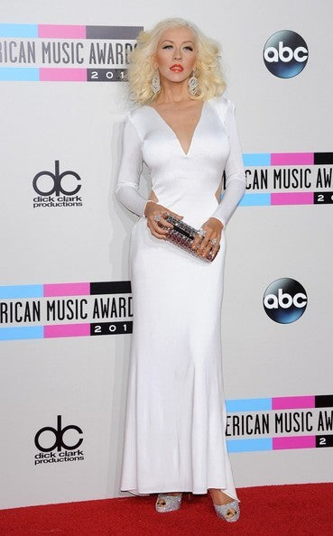 White Christina Aguilera Long Sleeve Cut out V Neck Dress Satin Prom Evening Formal Dress the American Music Awards
