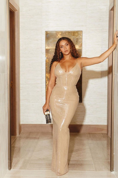 Gold Beyonce Knowles Spaghetti Straps Wrap Dress Sequin Prom Celebrity Formal Dress The Shawn Carter Foundation Gala