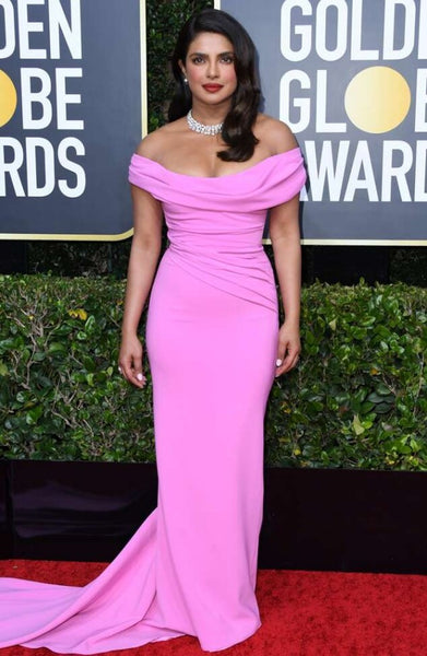 Pink Priyanka Chopra Off the shoulder Dress Bodycon Prom Celebrity Formal Gown Dress Golden Globes