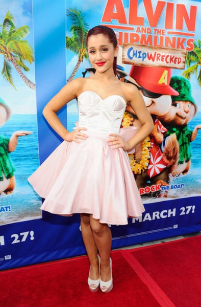 Pink white Ariana Grande Strapless Fit Party flare Prom Red Carpet Formal Dress Alvin And The Chipmunks DVD Release Concert