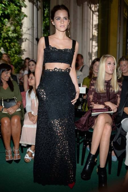 Black Emma Watson Lace Two piece Prom Celebrity Formal Dress Valentino Fall Couture Show