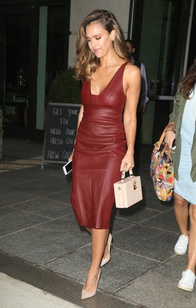 Burgundy Jessica Alba Tea Length Dress Leather Prom Celebrity Evening Dress New York City