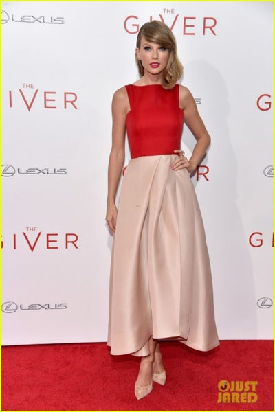 Red Champagne Taylor Swift Satin Sleeveless Dress Best Prom Red Carpet Dress The Giver Premiere