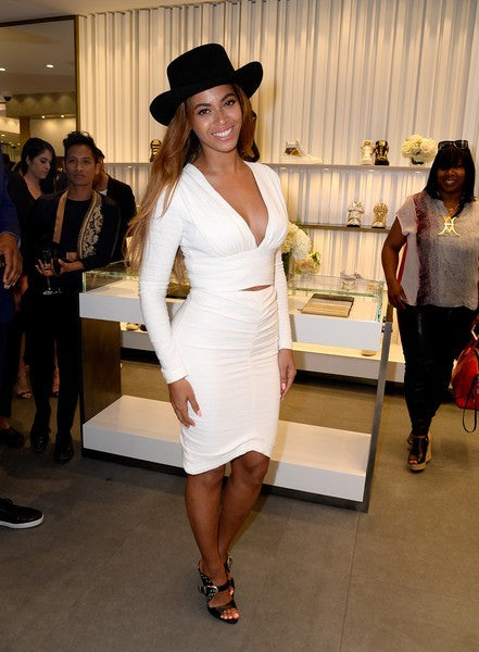 White Beyonce Knowles V Neck Tight-fitting Dress Long Sleeve Prom Celebrity Formal Dress For Less