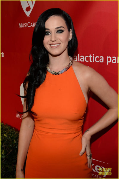 Orange Katy Perry Halter Open Back Prom Red Carpet Formal Dress Grammys Musicares Person Of the Year Event