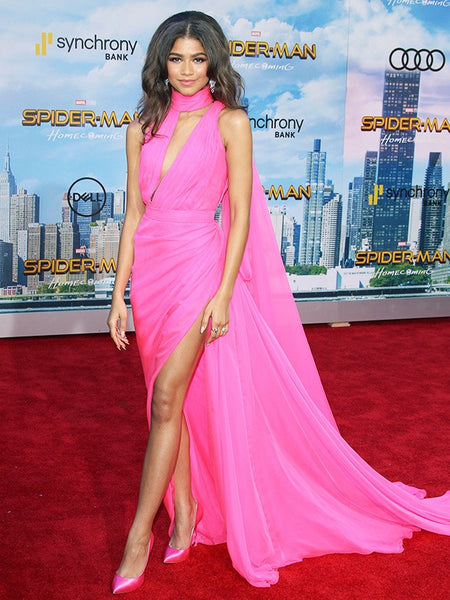 "Pink Zendaya Coleman High Slit Choker Neck Dress V Neck Prom Red Carpet Formal Dress Spider-Man: Homecoming"" L.A. Premiere"