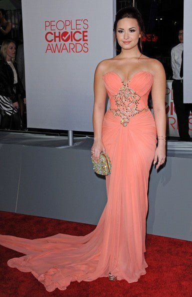 Pink Demi Lovato Strapless Beaded Center Slit Dress Sequins Prom Red Carpet Evening Dress People Choice Awards