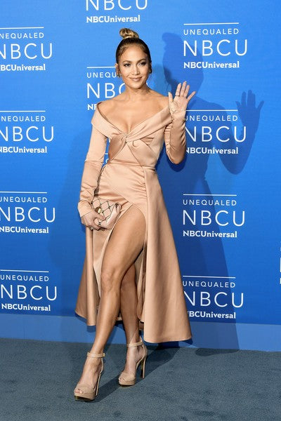 Rose Gold Jennifer Lopez (J.Lo) V Neck Slit Dress Applique Prom Celebrity Dress NBCUniversal Upfront