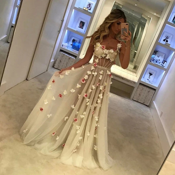 3D Floral Sexy Prom Dresses See Through Evening Dresses