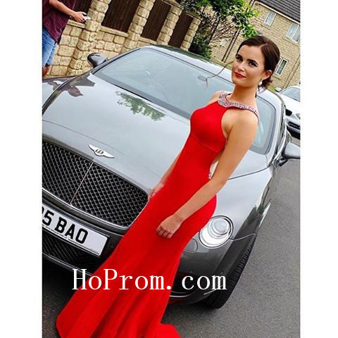 Red Halter Prom Dresses,Mermaid Prom Dress,Satin Evening Dresses