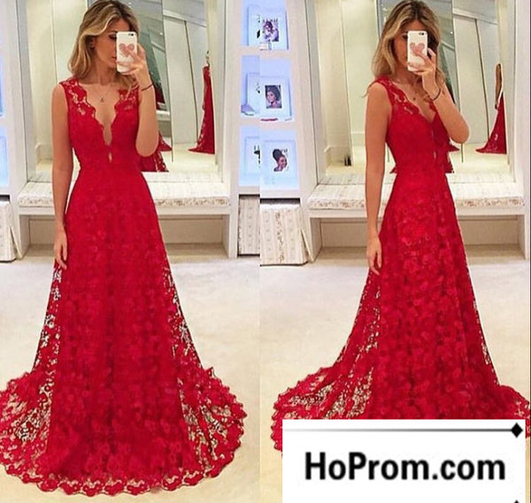 Deep V-Neck Red Lace Prom Dress Evening Dresses