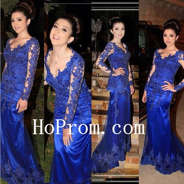 Lace Applique Prom Dresses,Long Sleeve Prom Dress,Evening Dress