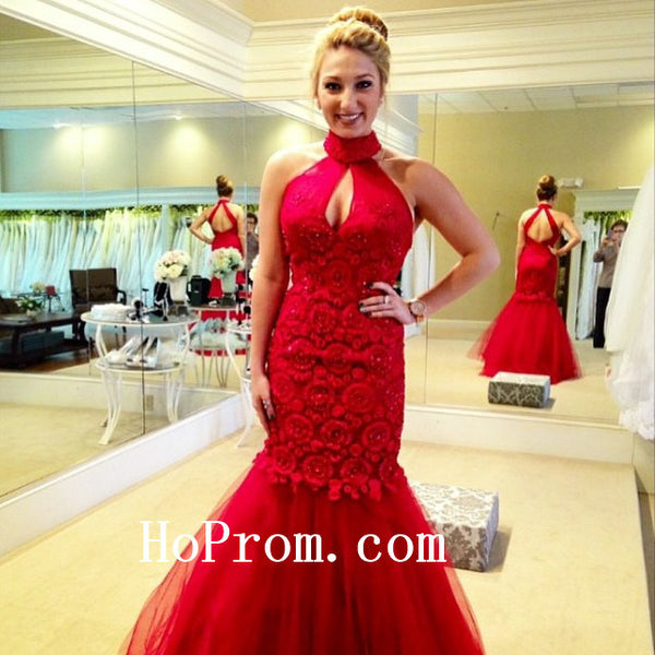 Flower Applique Prom Dresses,Mermaid Prom Dress,Red Evening Dress
