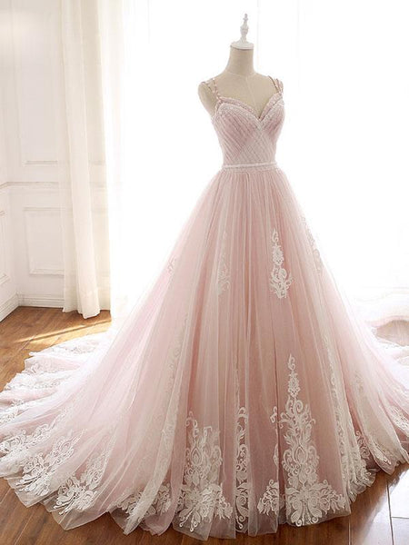 A Line Pink Beaded Prom Dresses Ball Gown Straps Evening Dress