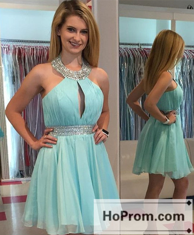 A-Line Halter Short Prom Dresses Homecoming Dresses