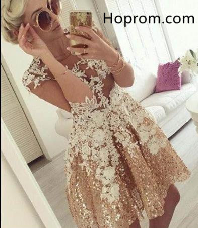Yellow Sequins Homecoming Dress, Appliques 3/4 Sleeve Homecoming Dress