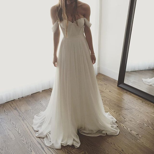 Ivoy Off-Shoulder Chiffon Wedding Bridal Dress