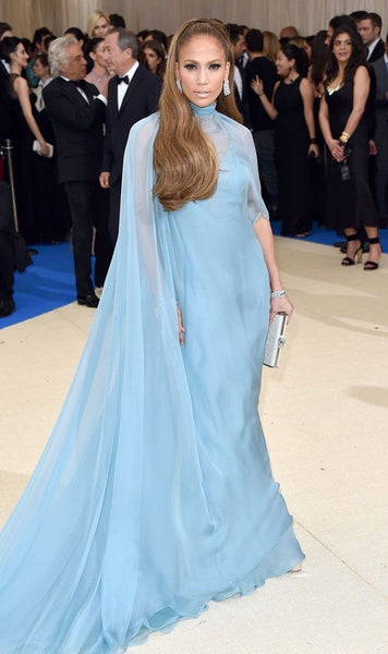Blue Jennifer Lopez (J.Lo) Cape High Neck Dress Pastel Prom Celebrity Red Carpet Dress Met Gala