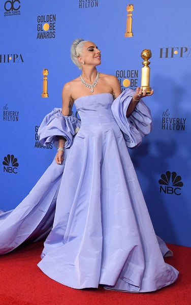 Blue Lady Gaga Strapless Long Prom Red Carpet Formal Dress Golden Globe Awards Dress Available